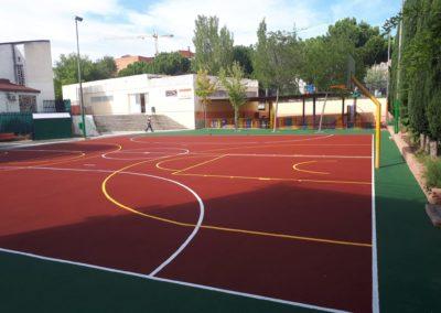 pista baloncesto pavimento poroso colegio